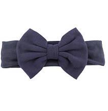 Темно-синяя красивая детская повязка - окружность 44-54см, бант 13см