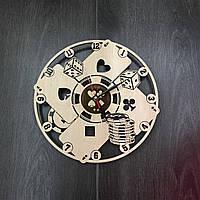 Настенные часы с деревянным циферблатом «Покер», фото 1
