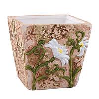Кашпо керамика с ромашками квадратное 10х10,5х10,5см вн. 9х8,5х8,5см светло-терракотовое (41007.001)
