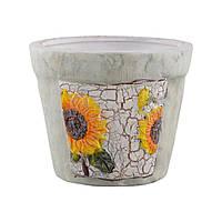 Кашпо керамика с подсолнухами 9,5х11,5х11,5см вн. 9х10х10см оливковое (41007.004)