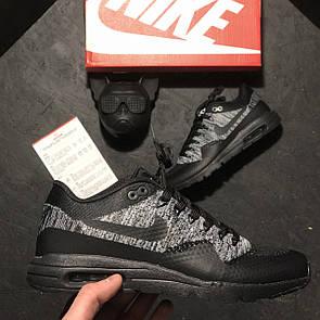 Мужские Кроссовки Nike Air Max 87 Flyknit Black Grey 45