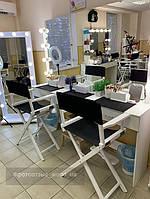 Высокий стул для визажиста, складной, деревянный, стул режиссера, стул для фото сессии, черно-белый 2