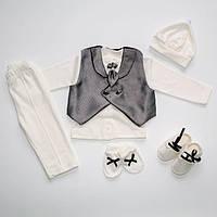Костюм для новорожденного мальчика на выписку крещение в коробке Турция белый с серым 216387