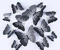 Декоративные 3D бабочки на магнитах,наклейки на стену черный цвет12 шт, фото 1