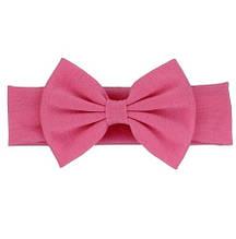 Розовая детская повязка - окружность 44-54см, бант 13см