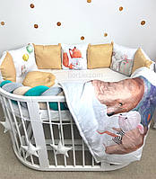 Комплект бортиков в детскую кровать ( з принтами)
