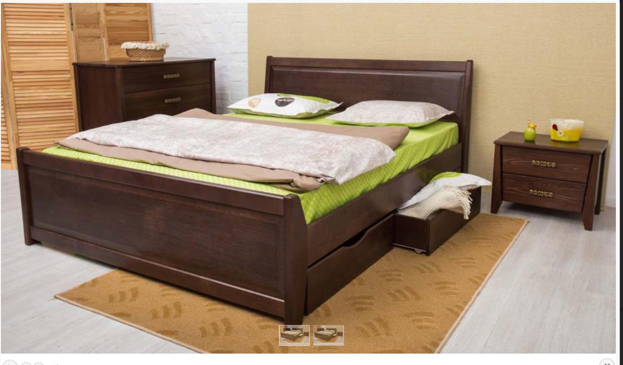 Ліжко дерев'яне з ящиками - Сіті. класична дерев'яна ліжко. Узголів'я