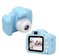 Детский противоударный фотоаппарат с селфи, камера с видео функциями,Kids Camera c дисплеем. Голубая, розовая.