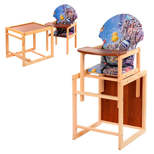 Стульчик для кормления деревянный  М V-002-4 Аквариум