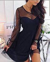 Платье черное с сеточкой в горох