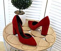 Женские туфли на устойчивом каблуке замша, кожа разные цвета TOPs2516