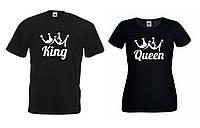 Парные футболки King Queen и короной