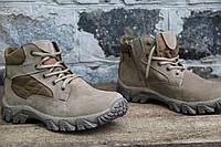 """Ботинки тактические, берцы летние из натуральной кожи и ткани хаки на молнии """"Ботинок пиксель 0191"""""""