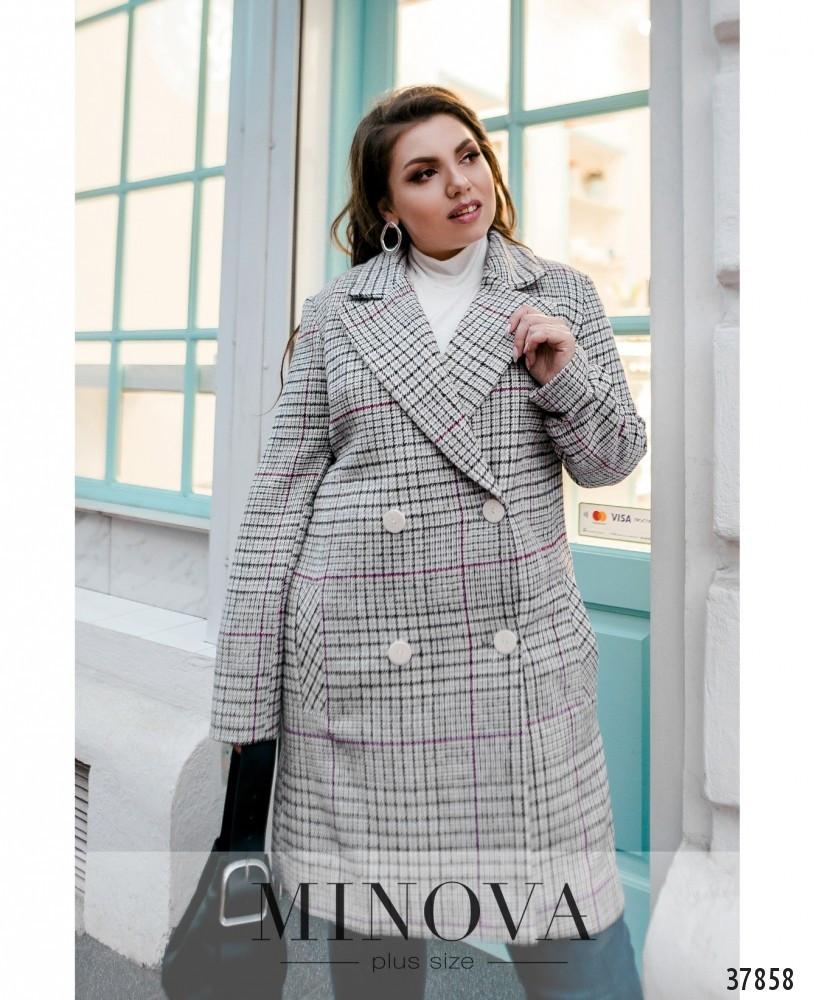 Женское кашемировое пальто в крупную клетку больших размеров
