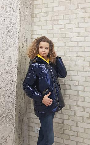Куртка детская демисезонная для девочки лаковая, от Anernuo 20121, размеры на рост 130, 140, 150, 160, 170, фото 2