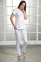 "Медицинский костюм ""Сторми"". Белый. Стрейч коттон. Рукав короткий. ТМ Сатал"