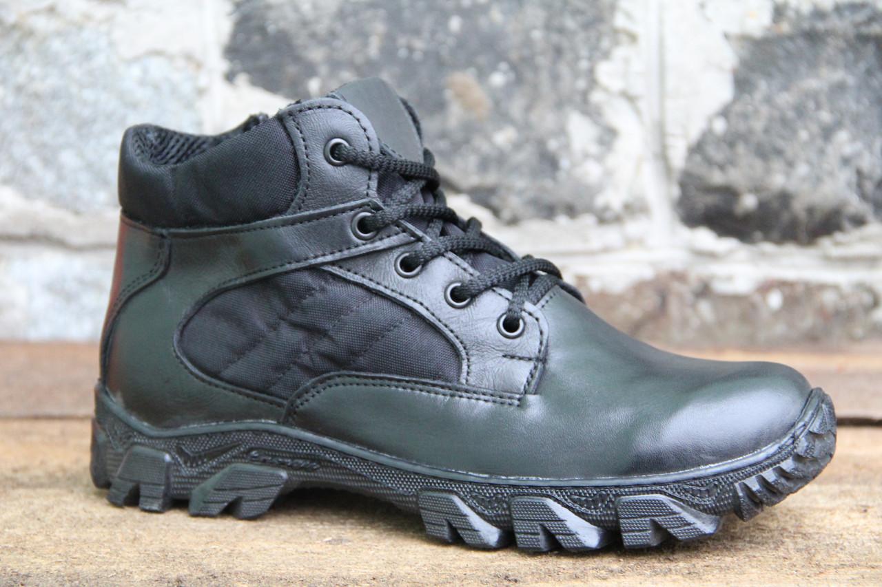 Ботинки тактические / берцы из натуральной кожи черного цвета на молнии