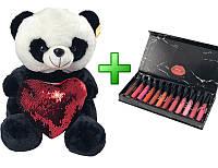 Плюшевая панда в подарочной упаковке + подарок № 6 (M)