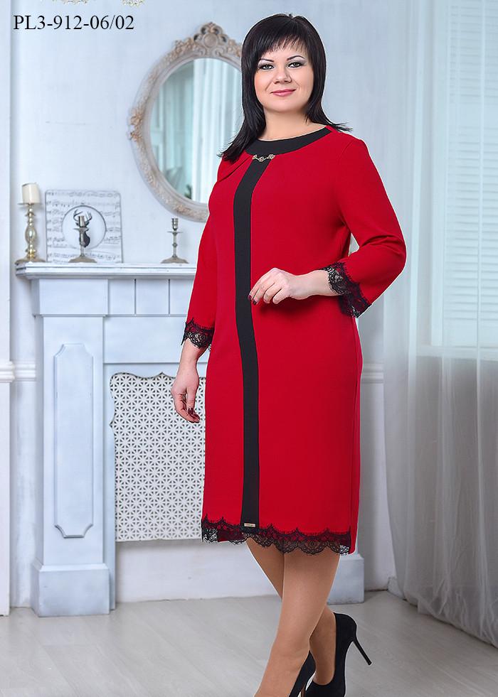 / Розмір 50,52,54 / Жіноче класичне плаття напівприлягаючого силуету / колір червоний