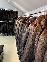 Жіночий кожушок шуба норкова з капюшоном коричнева 46 48 розмір
