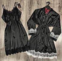 Черный халат с белым кружевом и пеньюар - шелковый комплект двойка.
