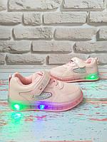 Детские розовые кроссовки с подсветкой на девочку 28 размер, фото 1