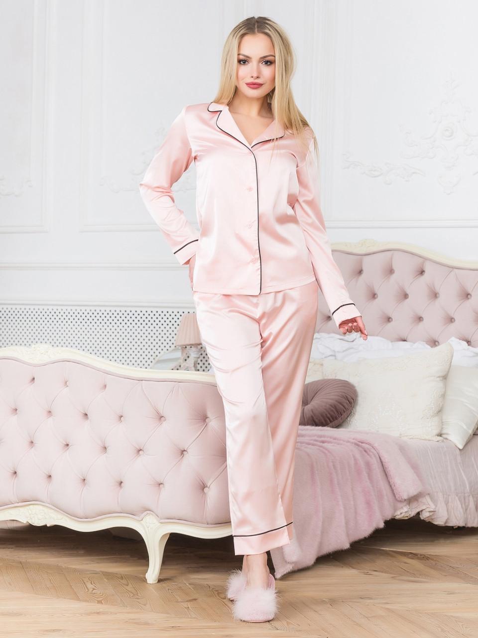 Піжама жіноча з брюками шовк персикова