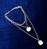 Колье цепочки 3 в 1 с подвесками медальонами (цвет золото)