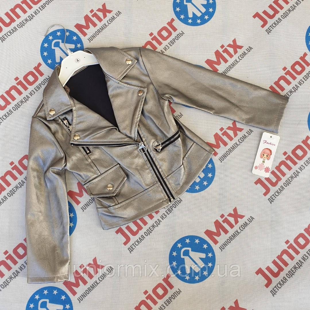 Куртки для девочек из кожзама на молнии  оптом Fashion
