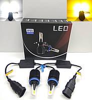 LED автолампы диодные M1 CSP Dual Color, H11, H8, H9, H16JP, белый и желтый, 8000LM, 40W, 9-32V, фото 1