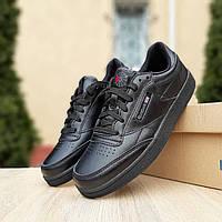 Мужские кроссовки в стиле Reebok Club, кожа, черные 43 (27,5 см)