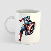 Кружка с принтом Капитан Америка. Captain America art. Marvel. Чашка с фото, фото 1