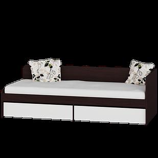 Детская кровать Соната 800 + 2 ящика Эверест Венге темный/белый