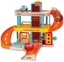 Трек Smoby двухэтажный гараж с лифтом и автомойкой интерактивный