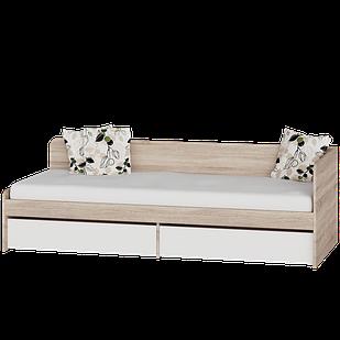 Детская кровать Соната 800 + 2 ящика Эверест Дуб сонома/белый