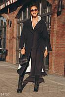 Удлиненное черное пальто UN