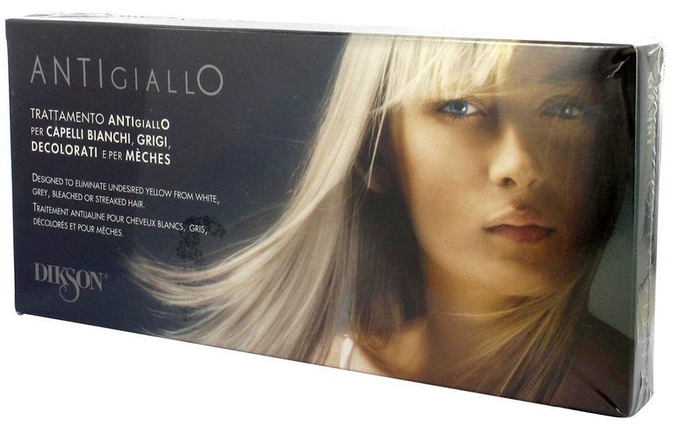 Dikson Trattamento Antigiallo - Антижелтая восстанавливающая процедура для светлых, осветленных, седых и мелированных волос, 12х12 ml