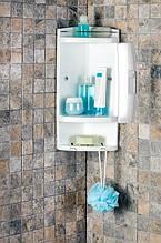 Кутова шафа для ванної з 2-ма відкритими полицями і 1-ої полицею з дверцями, PrimaNova, Туреччина, біла