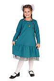 Бирюзовое платье для девочки с аппликацией