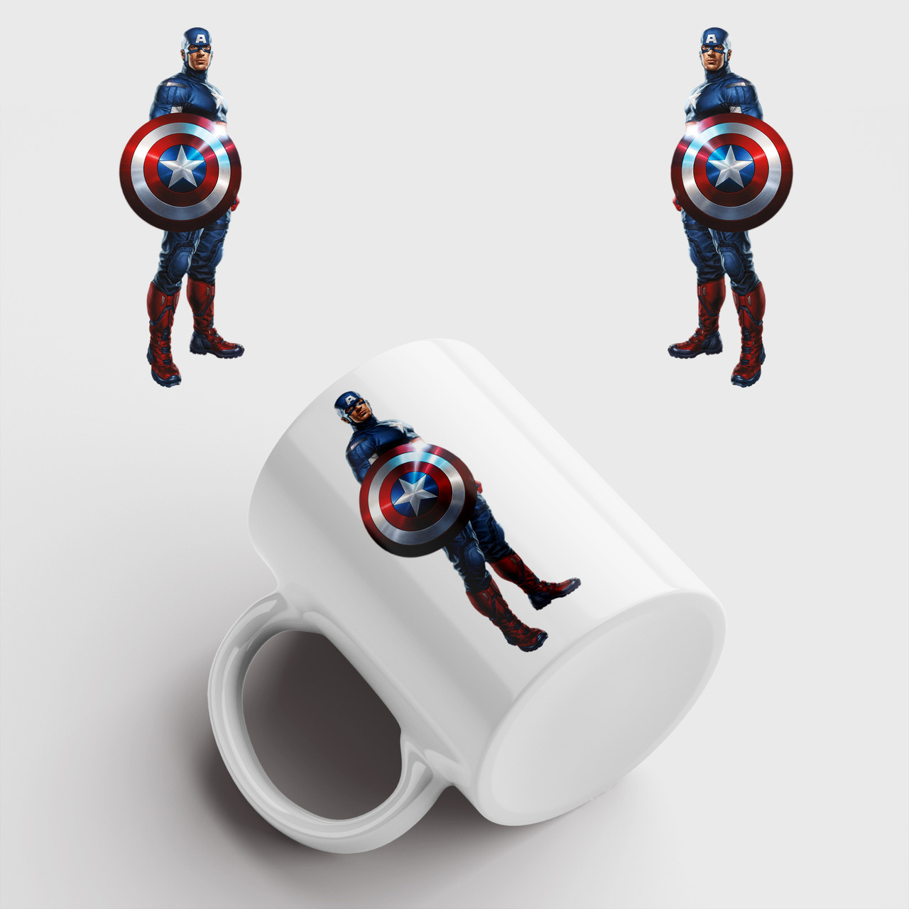 Кружка с принтом Капитан Америка. Captain America art. Marvel. Чашка с фото