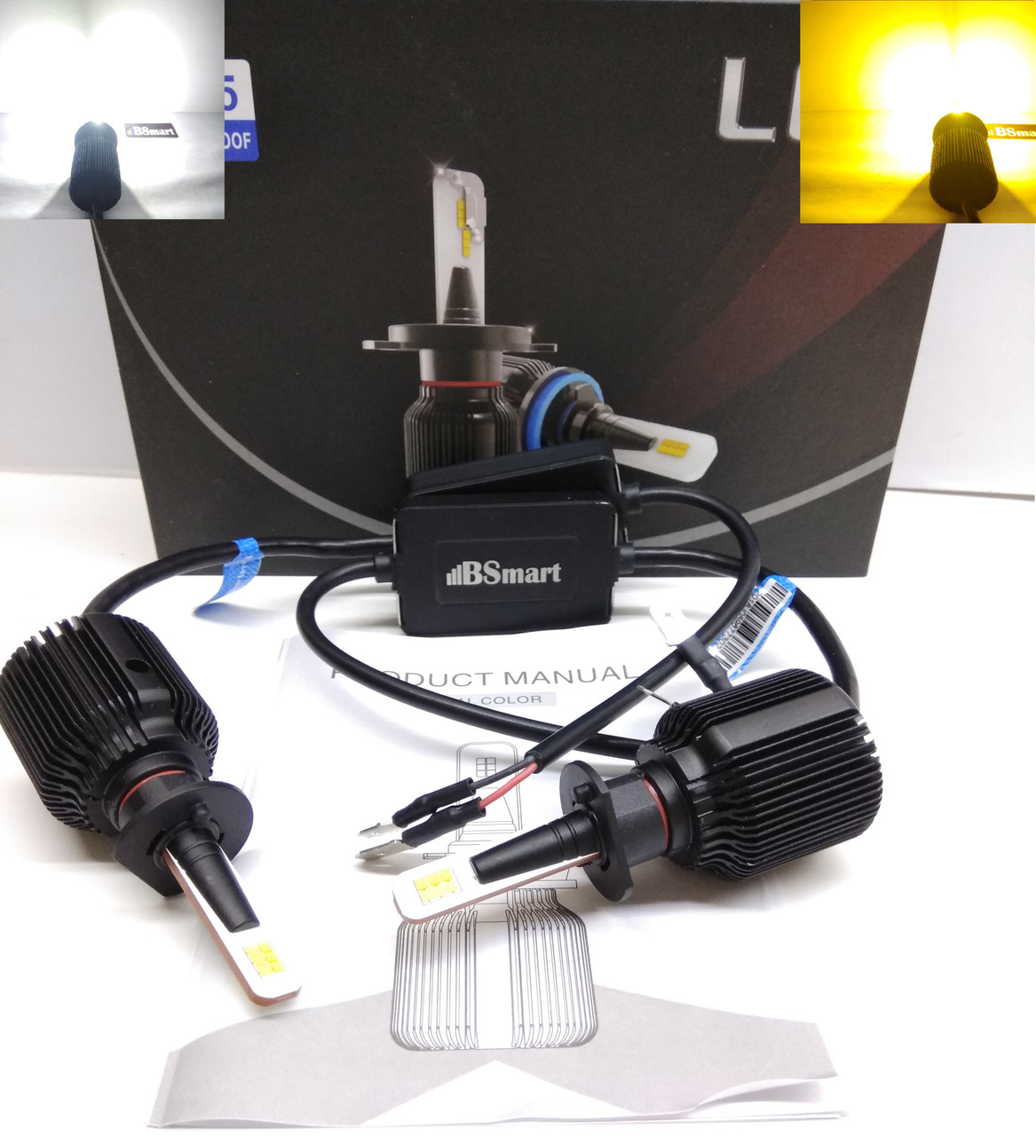 LED автолампы диодные M1 CSP Dual Color, H1, двухцветная, белый и желтый, 8000LM, 40W, 9-32V