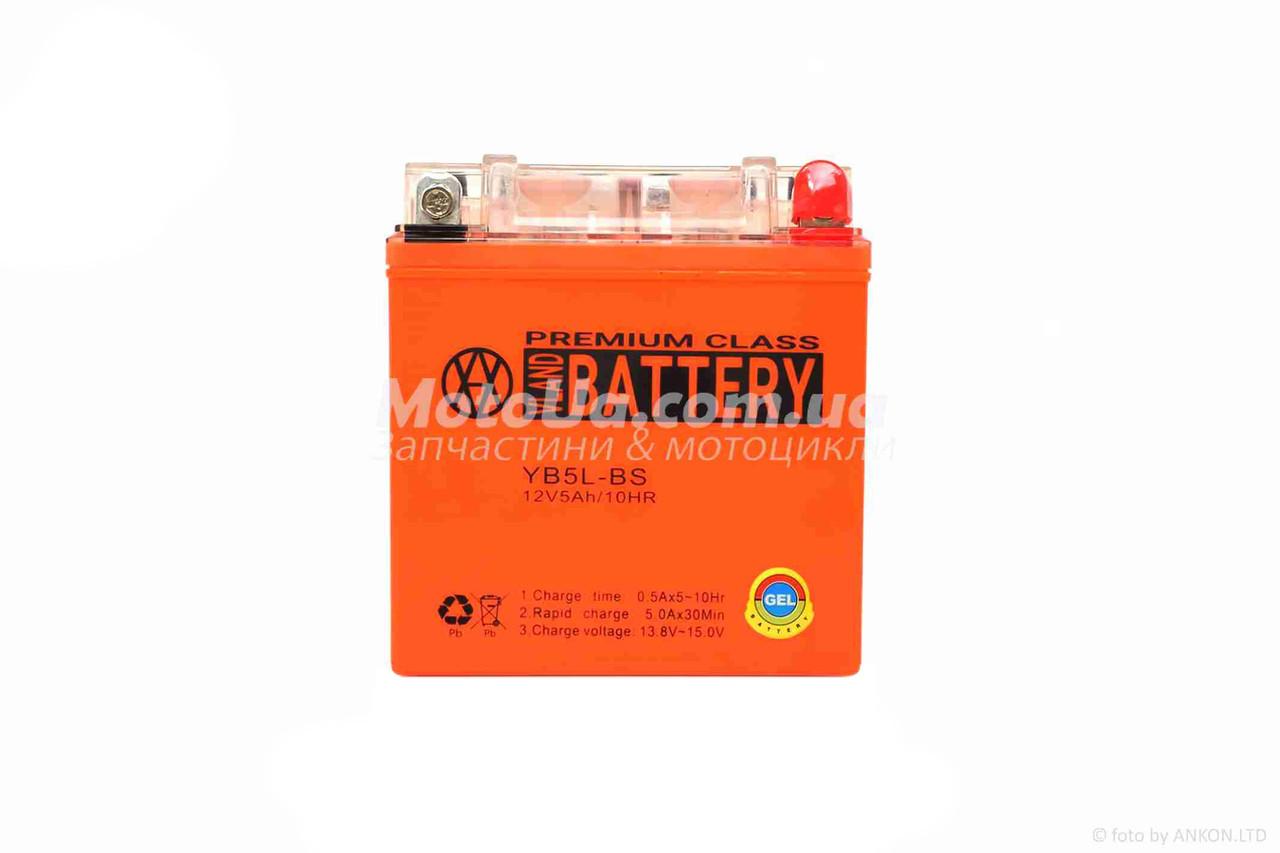 Аккумулятор 5A 12V (YB5L-BS) VLAND гелевий - високий 113*70*107mm