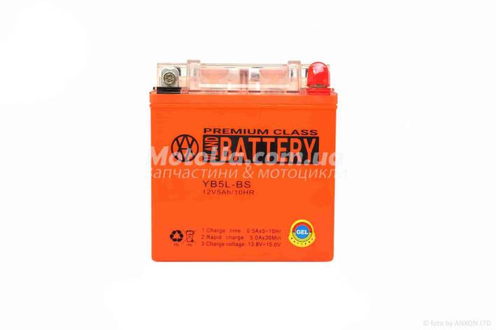 Аккумулятор 5A 12V (YB5L-BS) VLAND гелевий - високий 113*70*107mm, фото 2