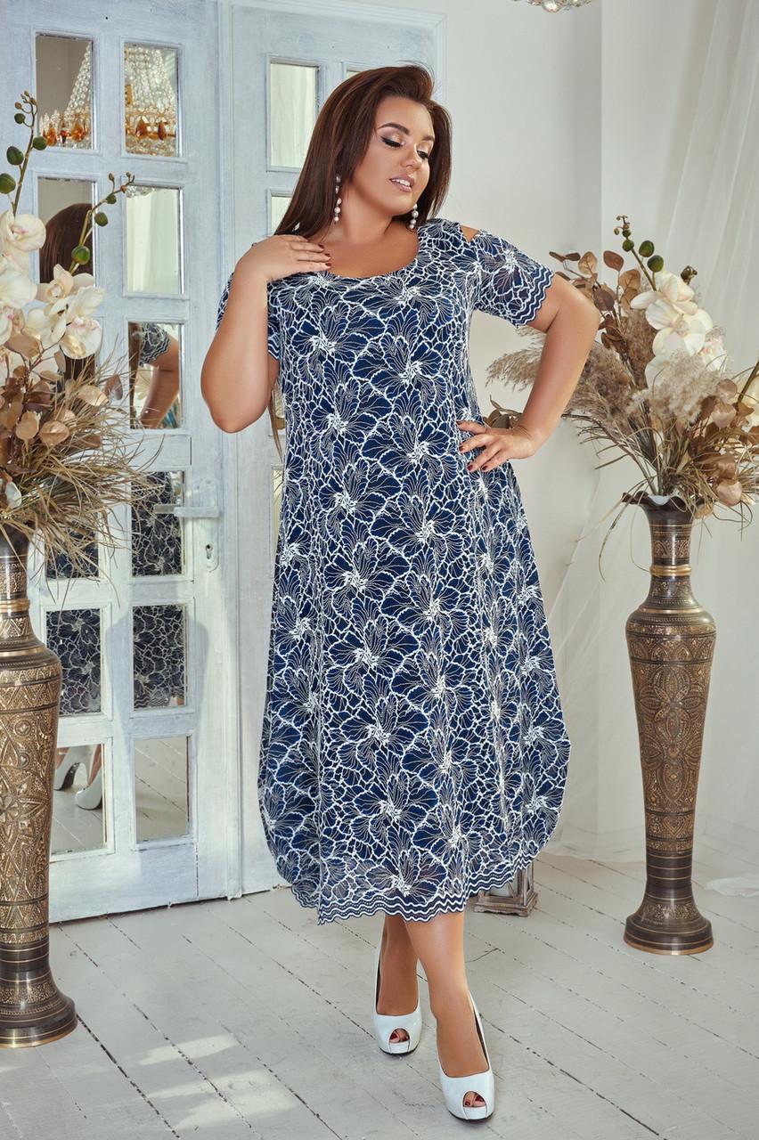 Красивое гипюровое платье батал
