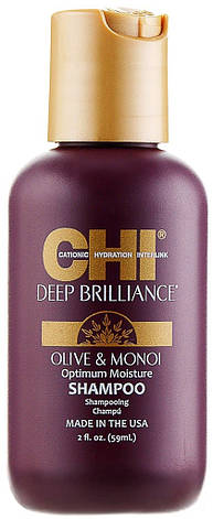 CHI Deep Brilliance Olive & Monoi Optimum Moisture Shampoo - шампунь, 59 ml, фото 2