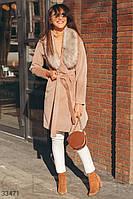 Пальто с меховым воротником M,L