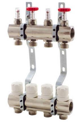 Коллектор Fado в полном сборе на 4 выхода со смесительной группой, термоголовкой Fado, расходомерами., фото 2