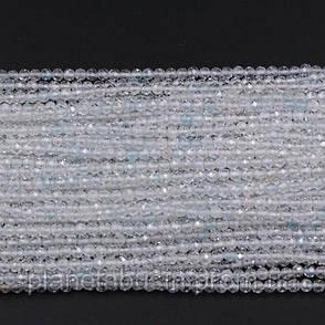 2.2 мм Топаз Белый, Натуральный камень, Форма: Граненый Шар, Длина: 40 см, фото 2