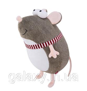 Мягкая игрушка Подушка Мышь в шарфе 25 см