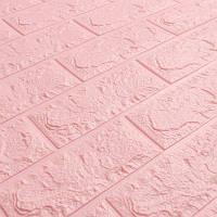 Самоклеющаяся декоративная 3D панель под розовый кирпич 700*770*7мм